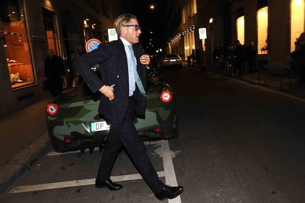 Lapo Elkan with his Ferrari Mimetic in Milan. Pictured: Lapo Elkan Ref: SPL363883  230212   Picture by: MaHahui / Splash News Splash News and Pictures Los Angeles:310-821-2666 New York:212-619-2666 London:870-934-2666 photodesk@splashnews.com  spl363883_008
