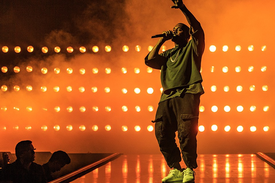 Kanye West, one of modern hip-hops most influential and controversial stars performs at a Drake Concert (Photo via. Highsnobiety)