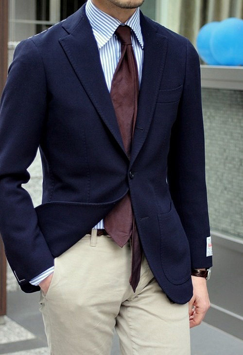 A navy blazer and chinos make perfect companions.