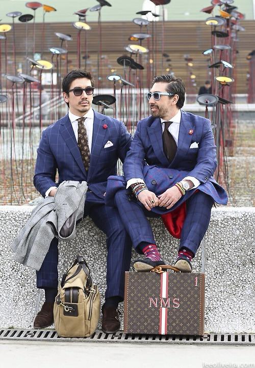 Australian brothers Chris (left) and Nick Schaerf (of Double Monk, Melbourne caught at Pitti Uomo. Chris left is athletic.