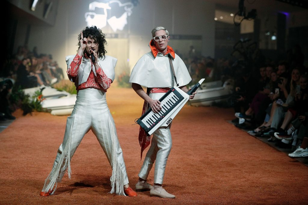 SYDNEY, AUSTRALIA - MAY 16: Client Liasion perform on the runway during the Client Liaison Deluxe Line show at Mercedes-Benz Fashion Week Resort 19 Collections at Overseas Passenger Terminal on May 16, 2018 in Sydney, Australia. (Photo by Zak Kaczmarek/Getty Images)