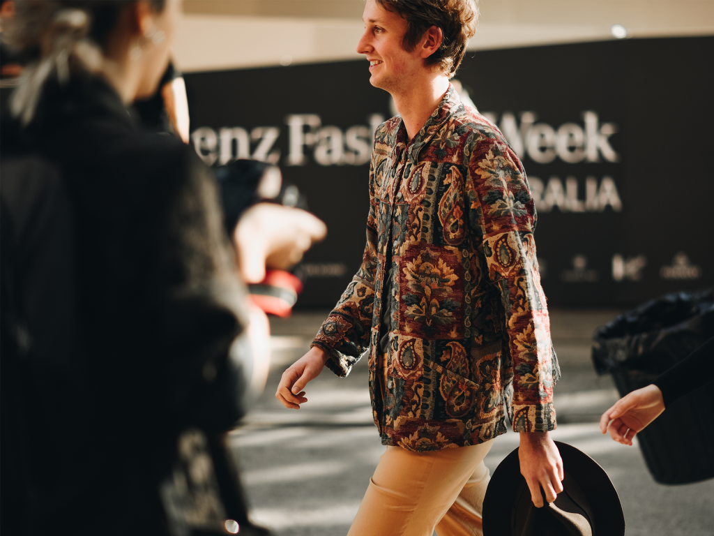 Paisley work jacket at Mercedes Benz Fashion Week 2018. (Shot by Jeffrey Zhou)
