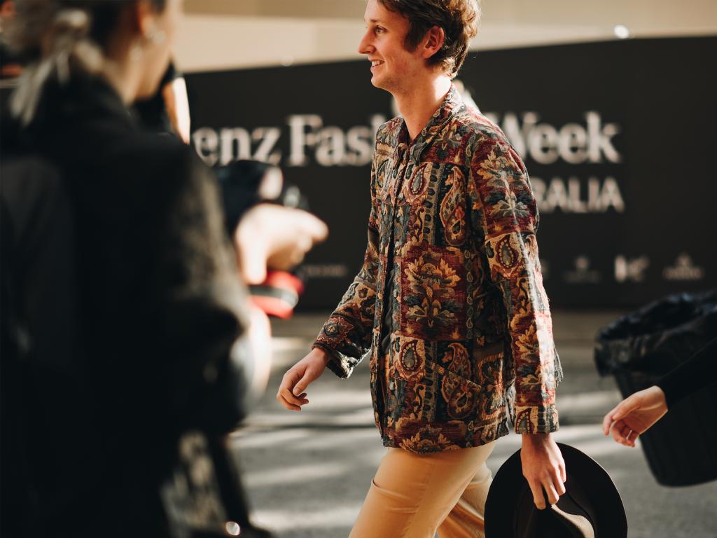Paisley work jacket at Mercedes Benz Fashion Week 2018. (Shot by Jeffrey Zhou)