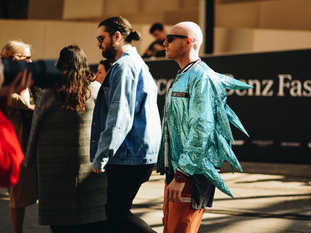 Guy dressed in foil jacket with protruding spikes at Mercedes Benz Fashion Week 2018. (Shot by Jeffrey Zhou)