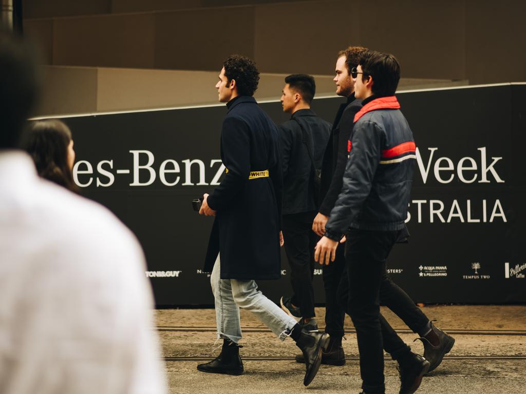 Group of Australian men at Mercedes Benz Fashion Week 2018. (Shot by Jeffrey Zhou
