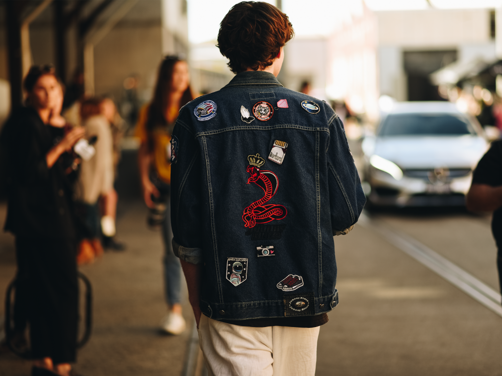 Denim jacket at Mercedes Benz Fashion Week 2018. (Shot by Jeffrey Zhou)