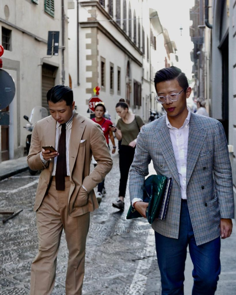 Homie Yang and Jack Liang of Trunk Tailors in summer suits at Pitti Uomo 94 | Photo via. Trunk Tailors
