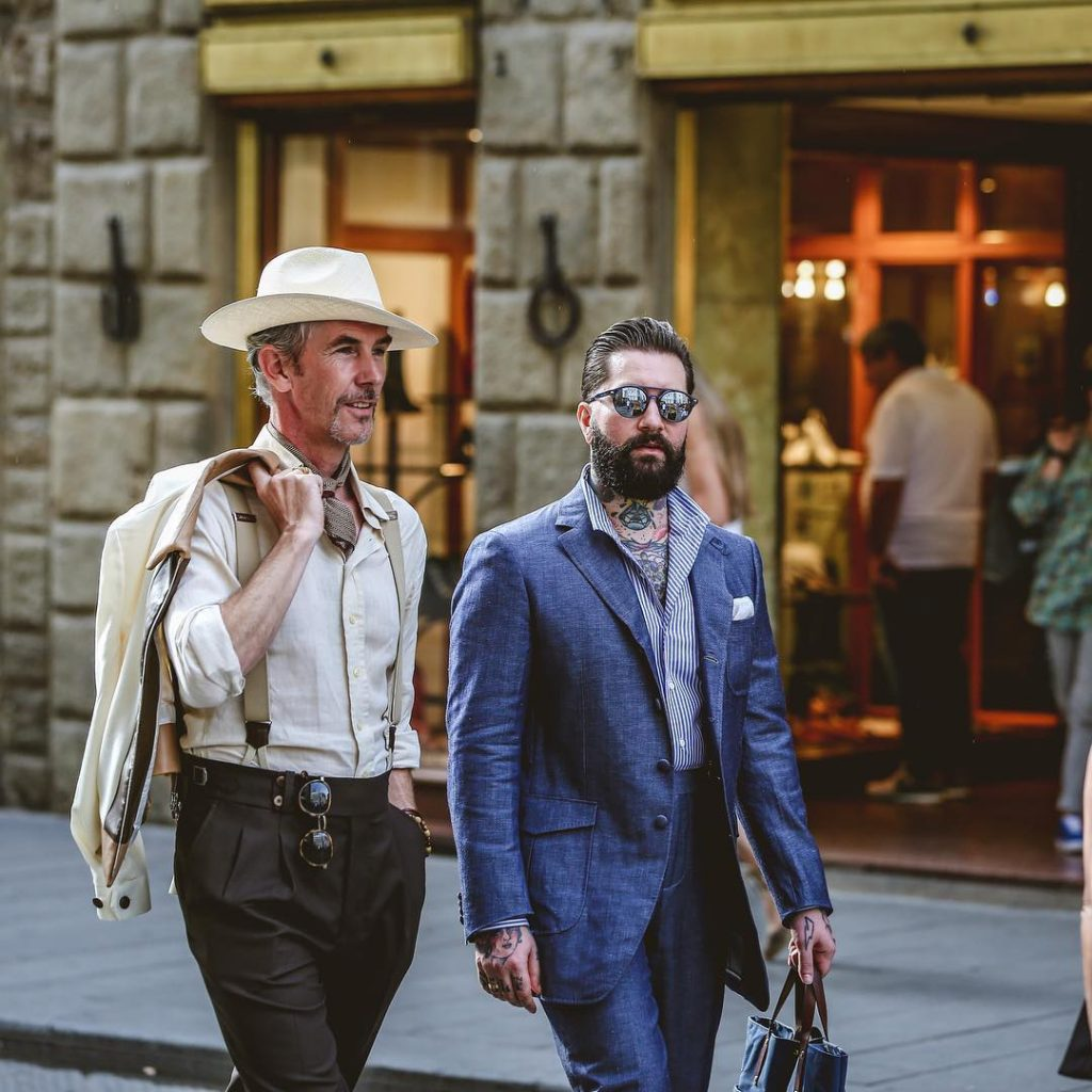 Jared Acquaro in a military uniform inspired suit at Pitti Uomo 94 | Photo via. @ny_style_graphy