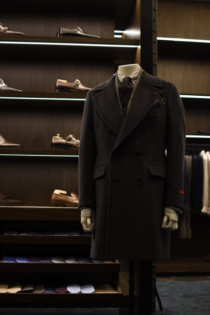 Isaia Marshall Double Breasted Charcoal Coat available at Masons, Melbourne | Photo via. Masons
