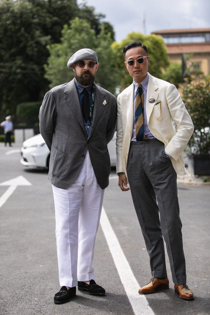 Ethan Newton (left) and Kenji Cheung (right) of Bryceland's and Co at Pitti Uomo 94 | Photo by Sebastian McFox via Styleforum