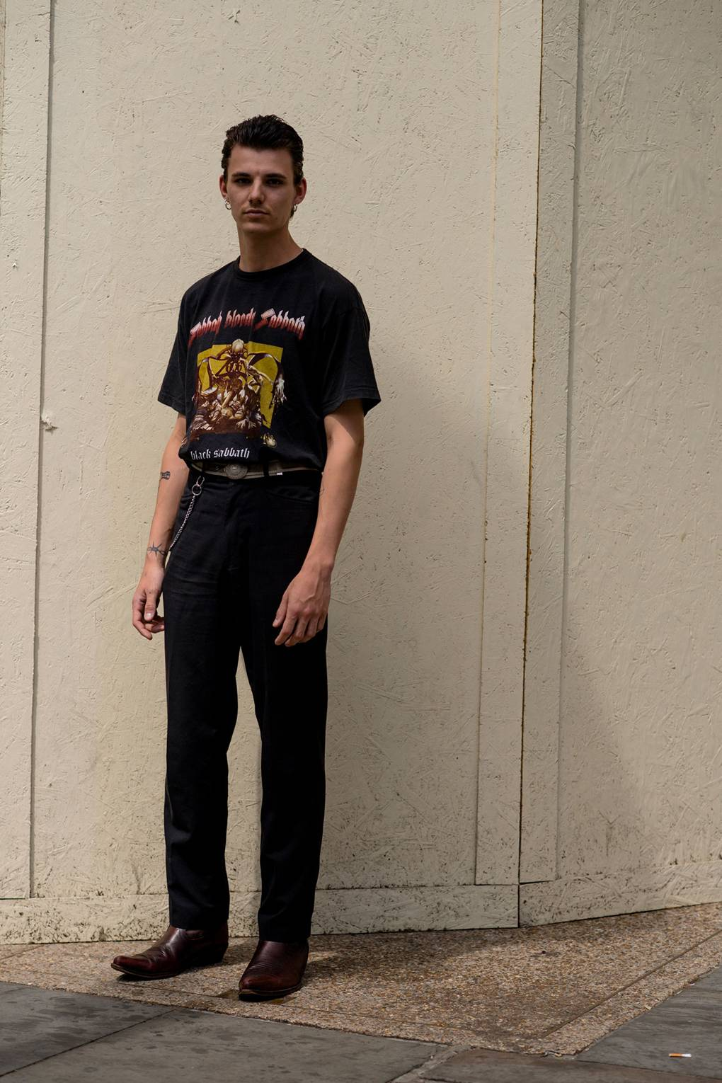 London Fashion Week Men's S/S 2019 Man in Black Graphic T-Shirt and Double Monks