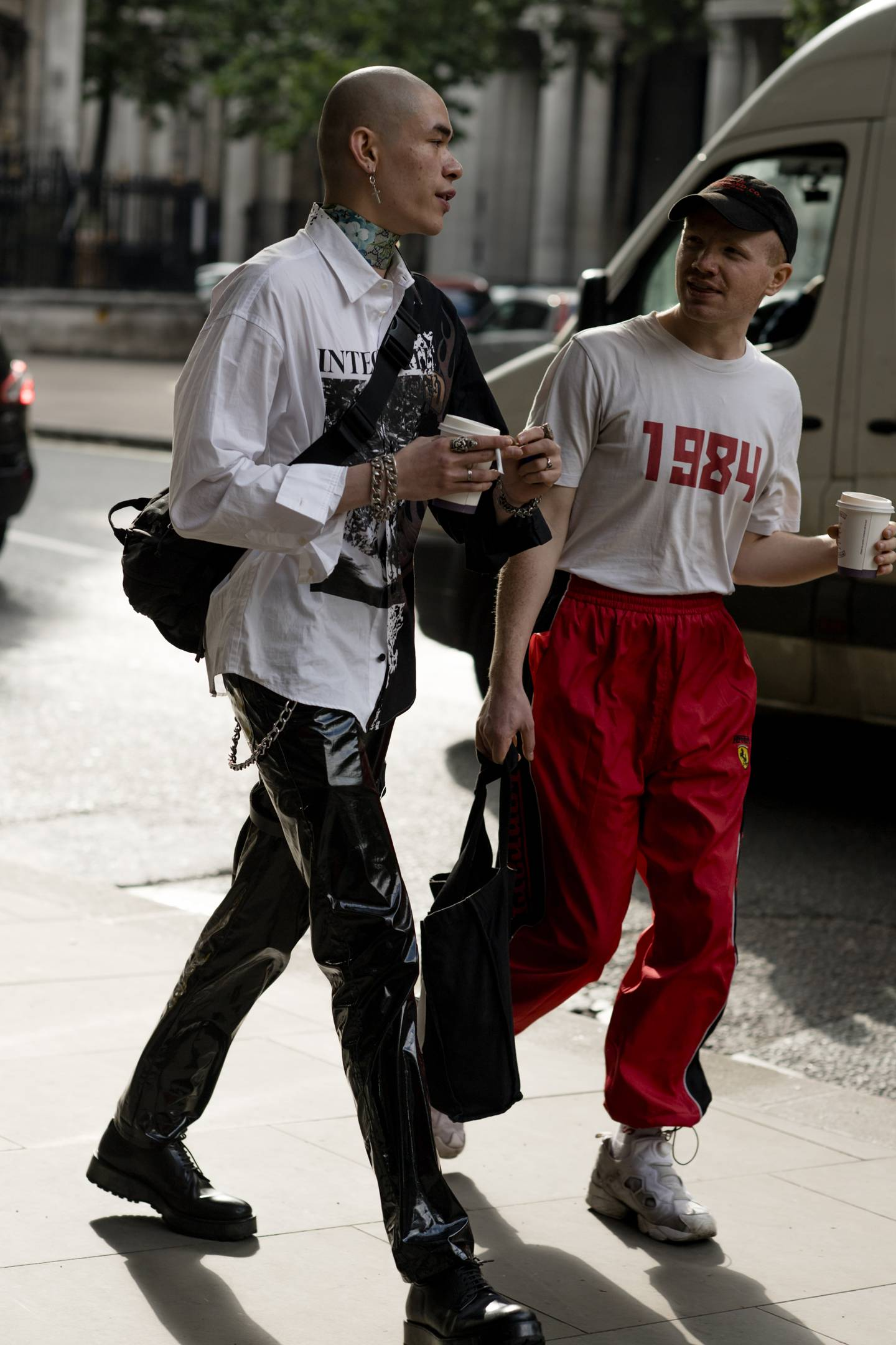 London Fashion Week Men's S/S 2019 two men wearing bumbags